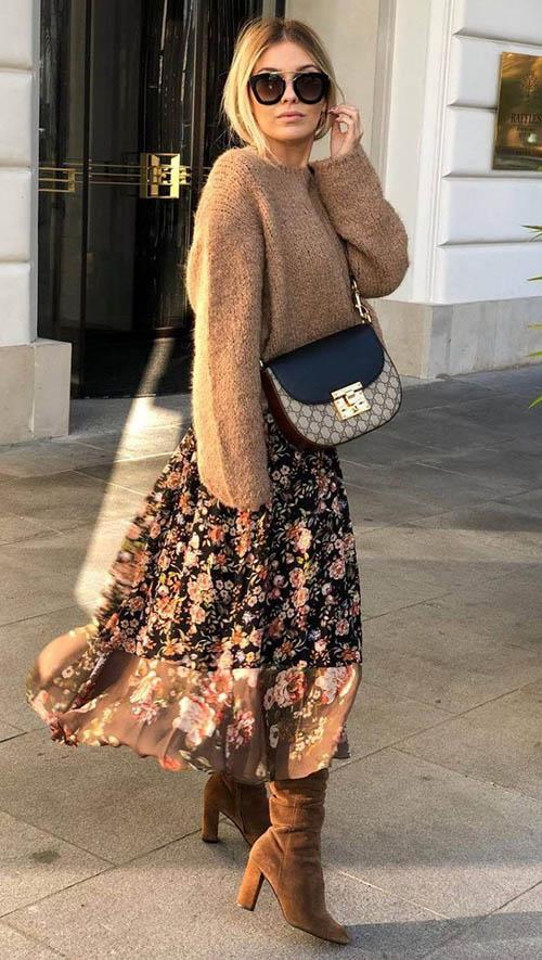Платье миди со свитером, платье со свитером, платье со свитером сверху, как носить платье со свитером, шифоновое платье со свитером