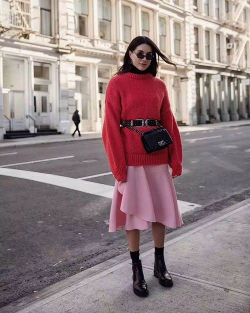 платье со свитером, платье со свитером сверху, как носить платье со свитером