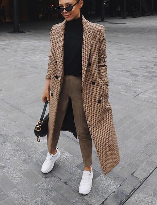 образы с пальто, образы с пальто и кроссовками, образы с пальто в клетку