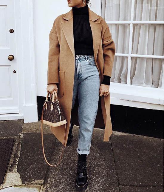 ботинки и пальто образ, образы с бежевым пальто, образы пальто